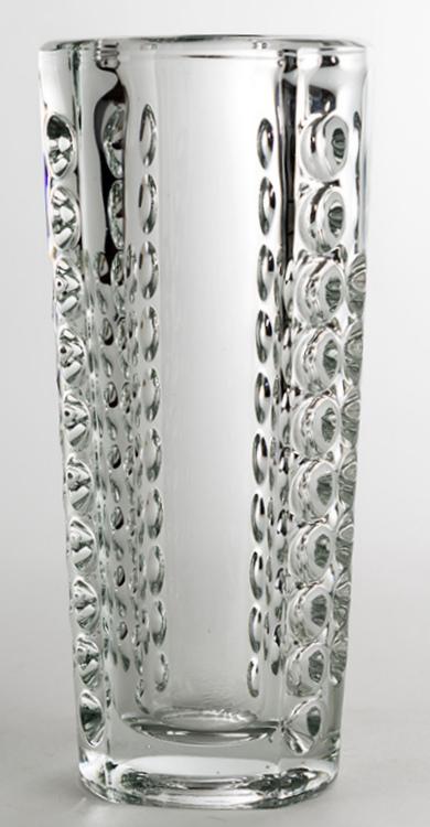 jarrón murano transparente con decoración de burbujas