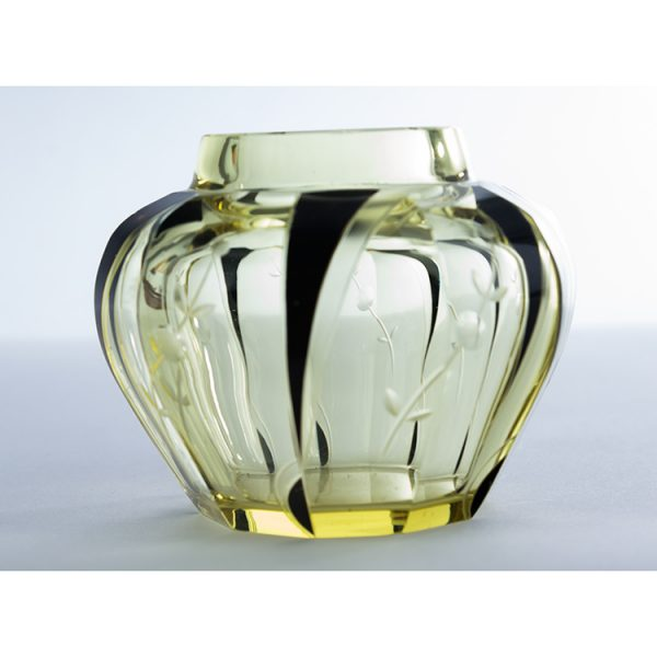 frasco de crsital amarillo art deco 1940
