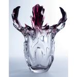 jarrón de murano transparente con sommerso granate y adorno de cornamenta
